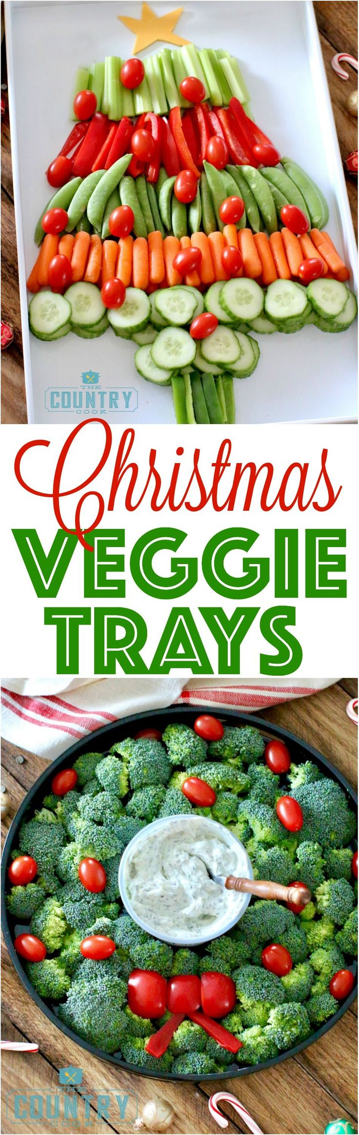 Christmas Veggie Trays are a super simple way to dress up those holiday platters! Serve with #Marzetti Creamy Veggie Dips!