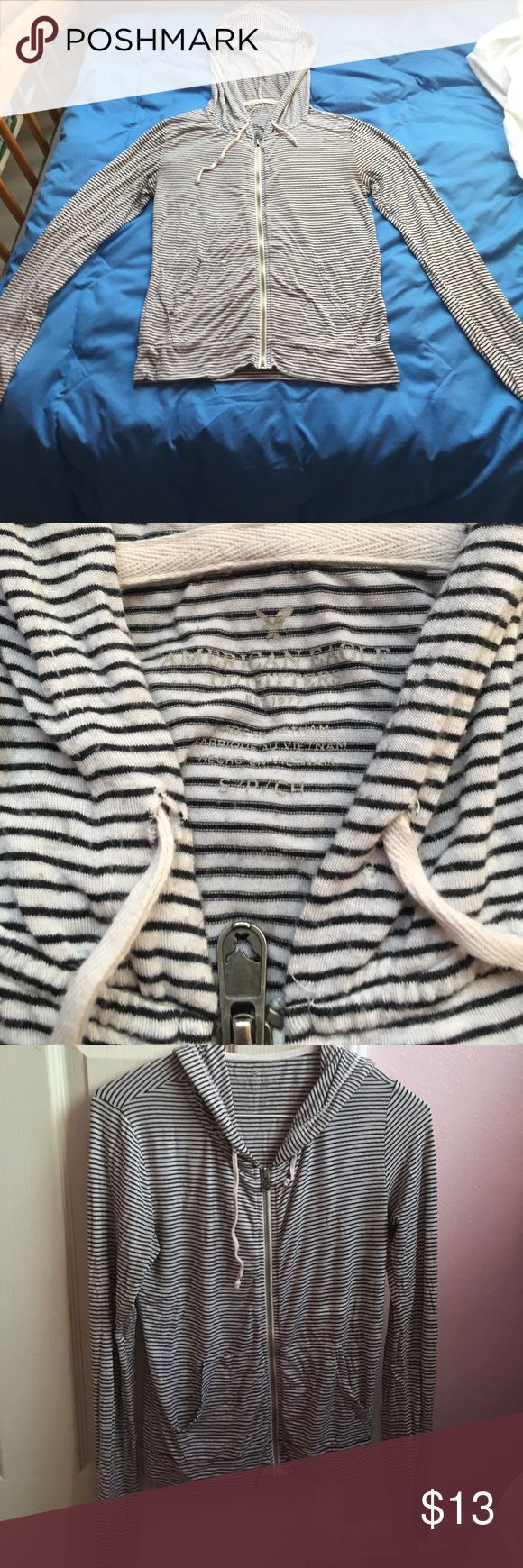 American Eagle Women's Striped Hoodie, SMALL American Eagle light weight black and white striped hoodie. Good condition, size small, comfortable and great for a summer night! American Eagle Outfitters Jackets & Coats