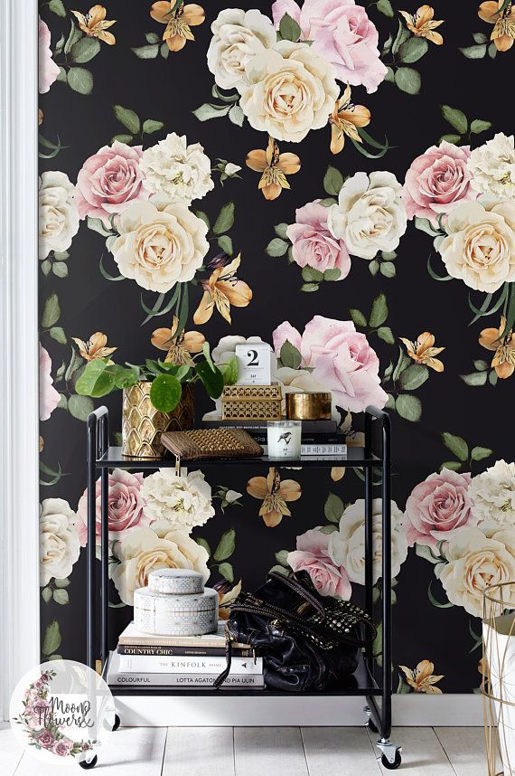 Vintage Roses wall mural,Flowers wall decor, Floral