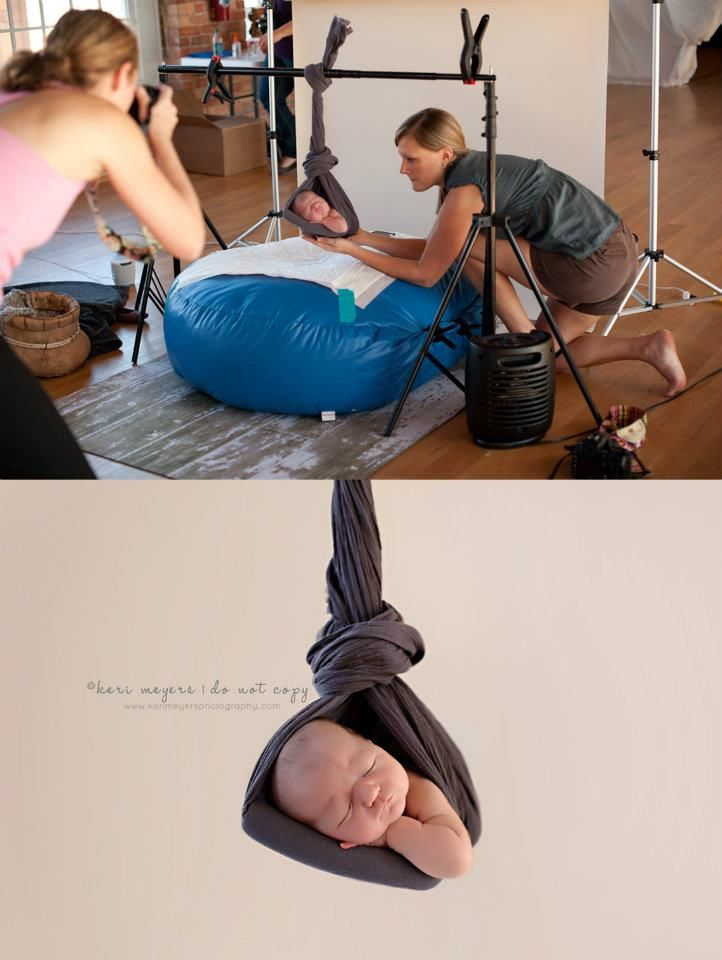 Safety ideas for baby photography YES! Cutsie newborn pics can be unsafe. Just take precautions