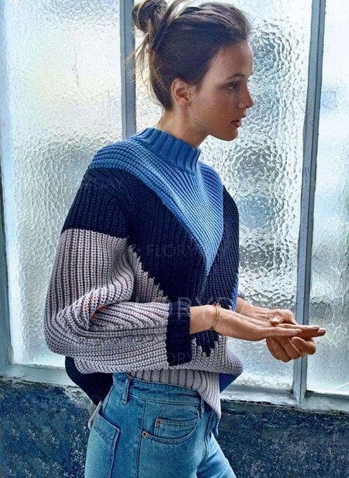 Rundhalsausschnitt Farbblock Übergroße Regular Keine Pullover     – B.women's fashion outfit ideas 2019  blouses shirts