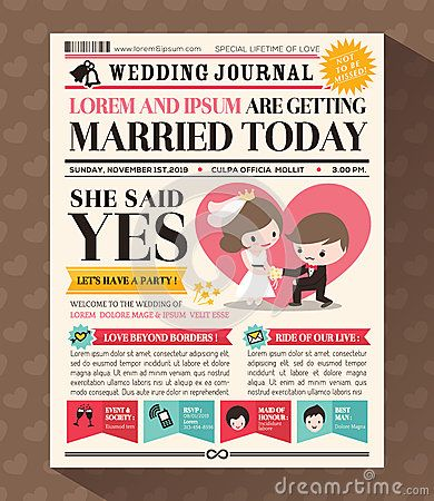 Cartoon Newspaper Wedding Invitation card Design