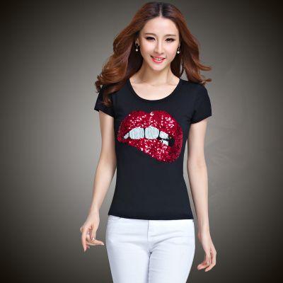 2015 summer top tee women s t shirt women t shirt Printed lips femme O neck on http://ali.pub/8zs4a
