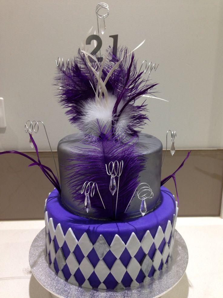 21st Birthday Cake Silver Too Cake Purple Bottom Tier