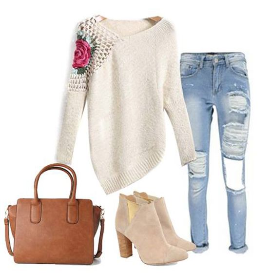 Sweater Love! White Flowers Hollow-out Irregular Sweet Pullover Sweater #White #Floral #Pullovers #Sweaters #Tops #Booties #Fashion #Outfit #Ideas