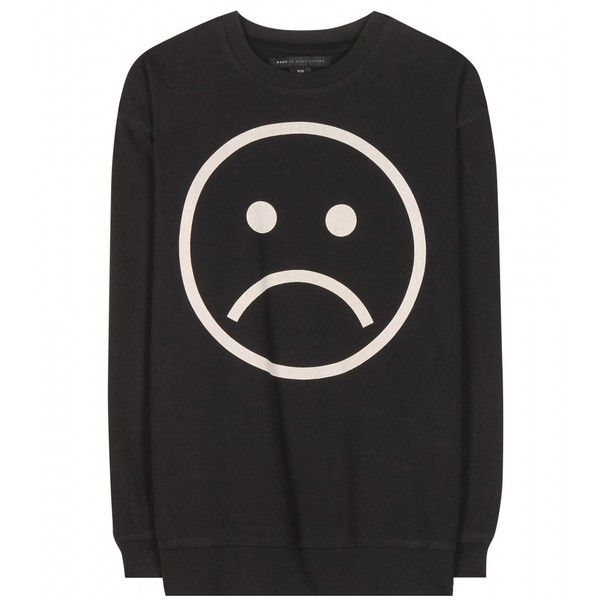 Marc by Marc Jacobs Sad Face Cotton Sweatshirt ($180) ❤ liked on Polyvore featuring tops, hoodies, sweatshirts, sweaters, shirts, black, black cotton top, cotton sweat shirts, shirts & tops and black sweat shirt