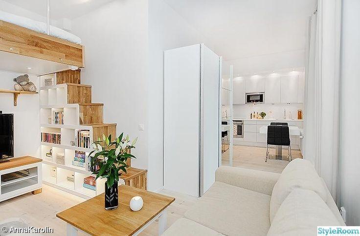 vardagsrum,compact living,loftsäng,soffa,vitt