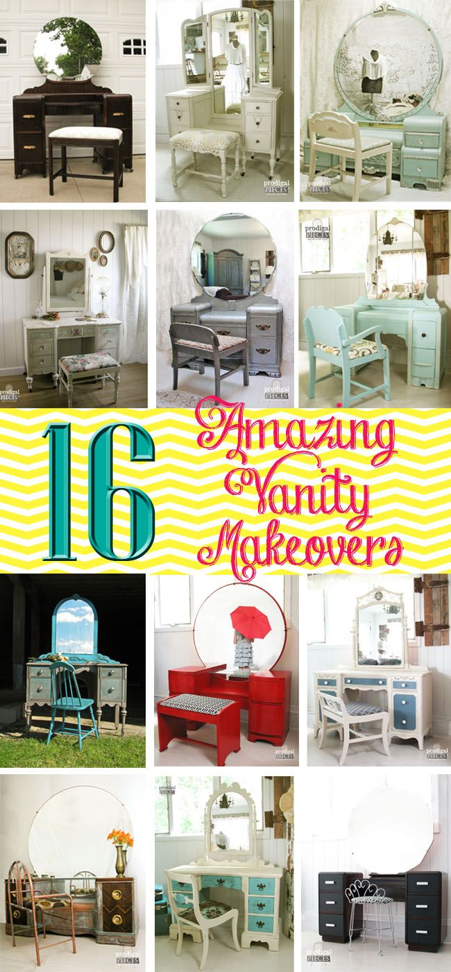 From Art Deco to antique, a fantastic collection of 16 amazing vanity makeovers. Scored from Craigslist, curbside, and thrift shops galore - a must see!