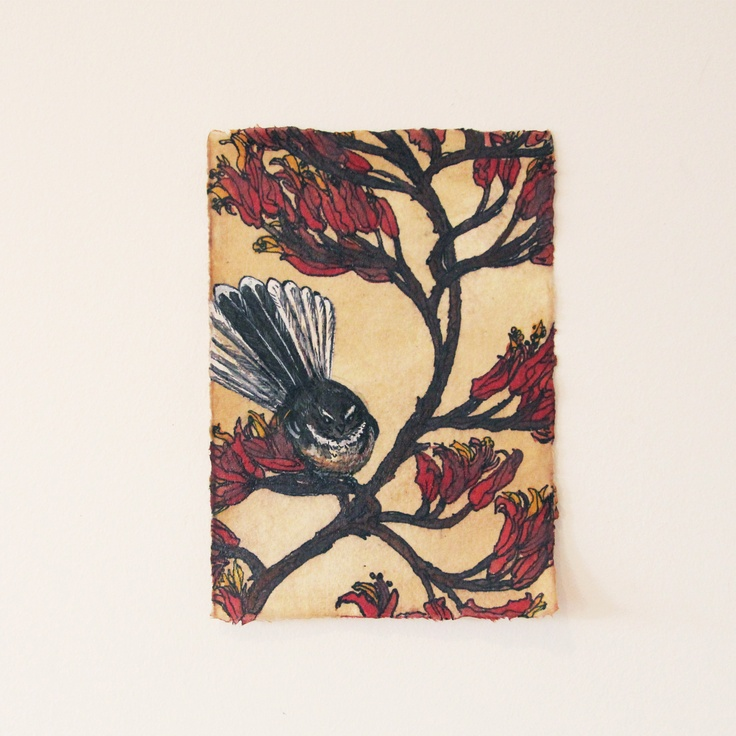 Native New Zealand Fantail bird on a red flowered Flax branch - Original painting on handmade paper... This is just a test piece  to see if the colours are correct with the resin topcoat. Yes and yes!