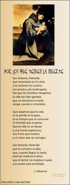 TARJETAS Y ORACIONES CATOLICAS: POR LOS QUE TEMEN LA MUERTE (Oraciones a San Anton...