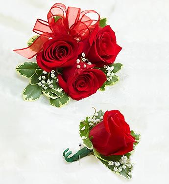 Red Rose Corsage & Boutonniere                              …
