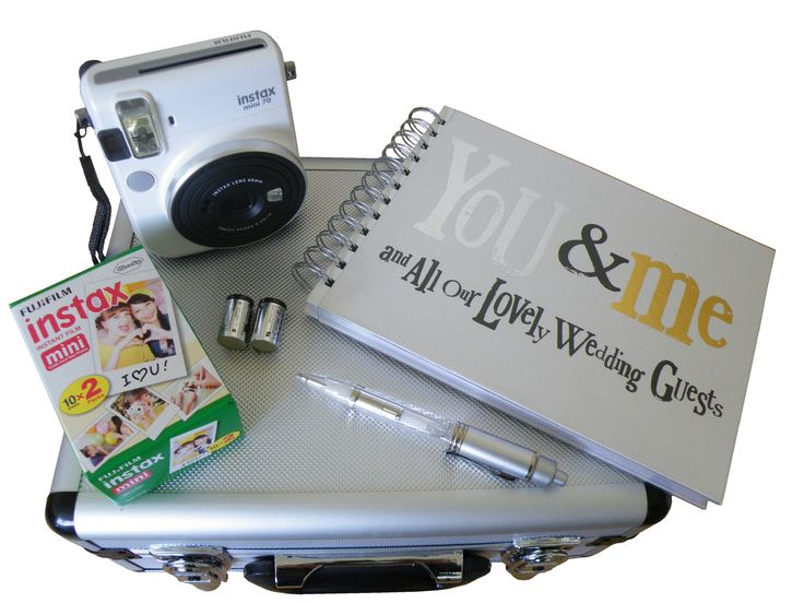 Instant print camera hire for weddings and events. Guest book and pen included.