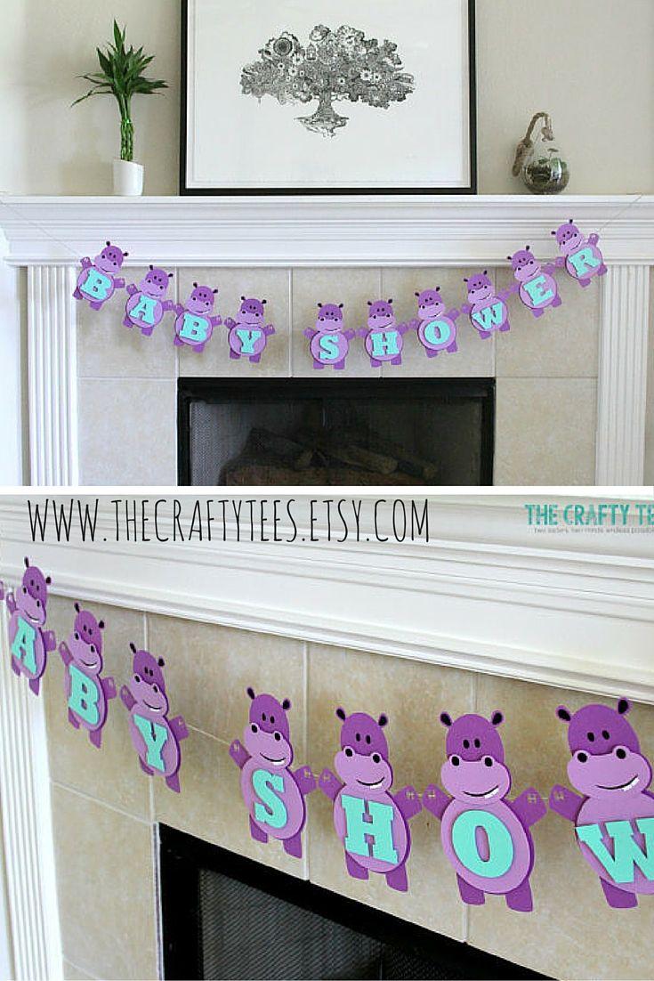 Hippo Banner - Hippopotamus - Birthday - Baby Shower - Bridal Shower - Multiple Colors Available - Custom Order Available
