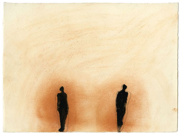 Antony Gormley THE TWO OF US, 1987 Earth, rabbit skin glue and black pigment on paper 28 x 38 cm