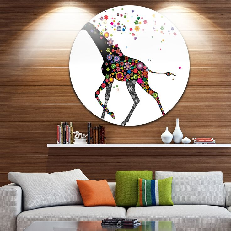 Designart 'Cheerful Giraffe Running' Animal Digital Art Disc Metal Artwork