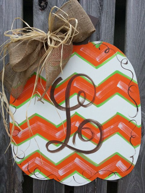 Chevron Pumpkin Door Hanger Handpainted Wood Includes Personalization via Etsy