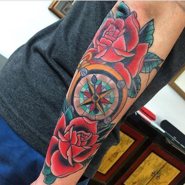 Rose and compass tattoo by Ben O'Grady - Sydney Australia   ogradytattoo@hush.com   www.benogradytattoo.com