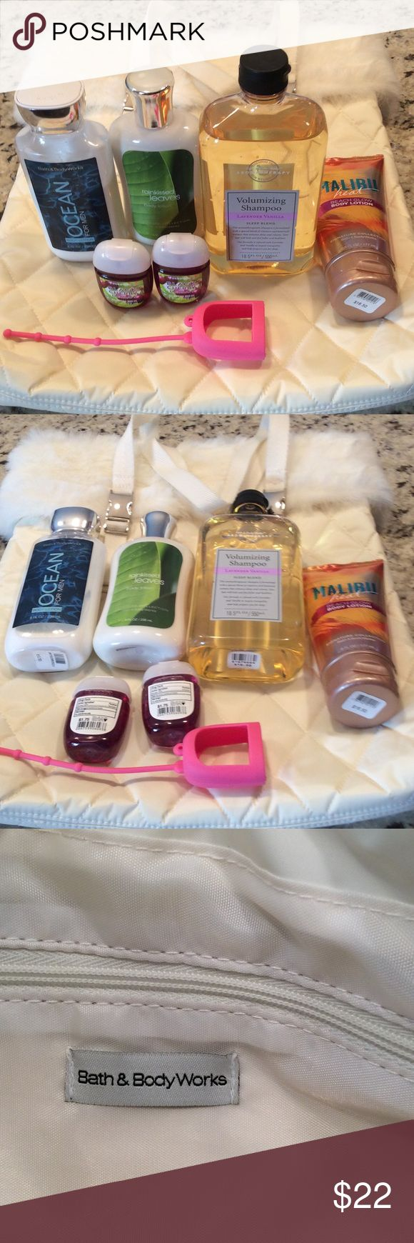 Bath and Body Works bundle 15 pieces include Malibu Heat shimmer lotion, Lavender vanilla shampoo, two lotions, 3 hand sanitizers, a pink holder, a black holder w/gold bow charm, Rain kissed leaves travel shampoo & conditioner, 3 coconut lime verbena travel soaps and a cream colored quilted bag w/ faux fur trim.  Hand sanitizer & Rain kissed leaves are new, others have been tried/sampled. Please note: there is a small stain on the handle. It may simply wash out, I haven't tried. Smoke free…