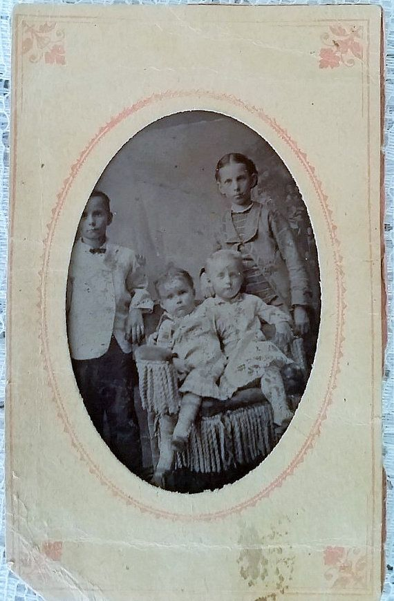 Antique Tintype Photograph  The Four by DaysofYoreTreasures