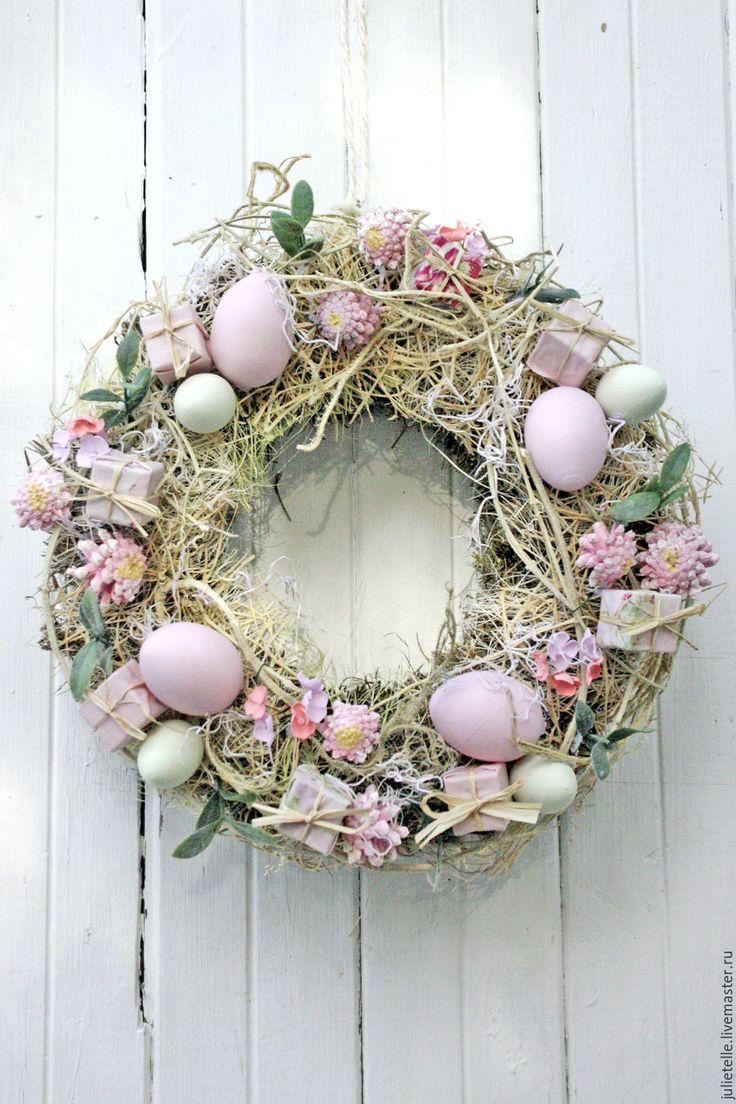 Купить Пасхальный венок - бледно-розовый, пасхальная композиция, пасхальный декор, подарок, Пасха, Праздник