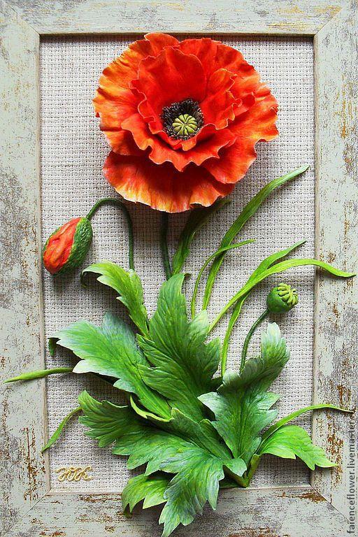 Купить МАК картина - мак, картина, картина в подарок, керамическая флористика, цветы, цветочная композиция