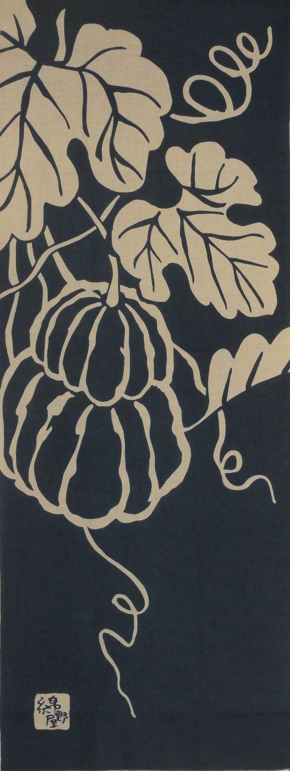 Kabocha, Kyo Yasai, Tenugui / Pumpkin,Kyoto vegetables, Japanese Fabric