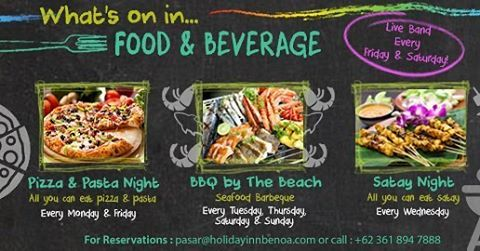 WHAT'S ON IN FOOD & BEVERAGE.. Enjoy our special Food and Beverage Promo every night. From all you can eat pizza & pasta night, all you can eat satay night to seafood BBQ by the beach + live band performance every Friday & Saturday! From only IDR 150K nett per person. #holidayinn #holidayinnbalibenoa #resortbali #bali #hotelbali #travelling #travel #holiday #explorebali #balieveryday #bestvacation #vacation #balipromotion #2016 #igdaily #ihg #instagood #photooftheday #fun #love #beautiful…