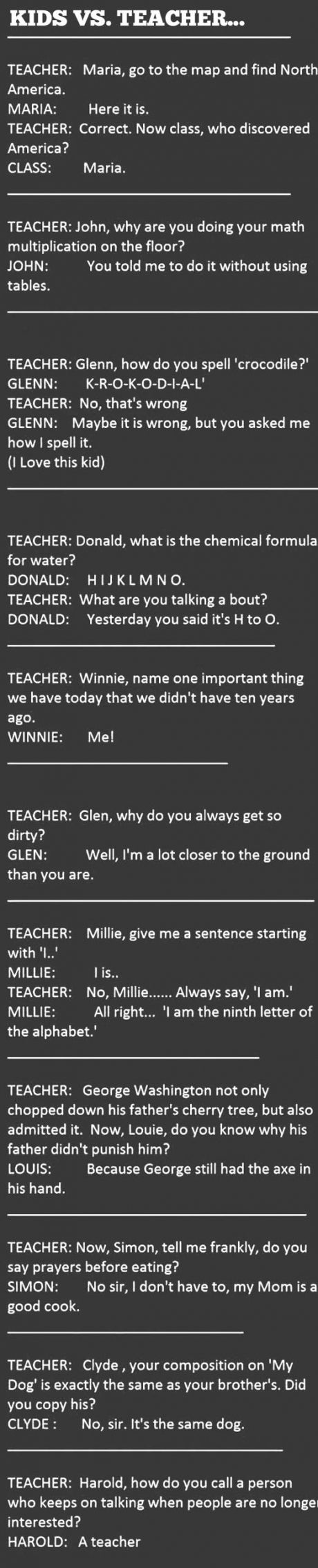 Kids Vs. Teachers. Some of these are so funny!