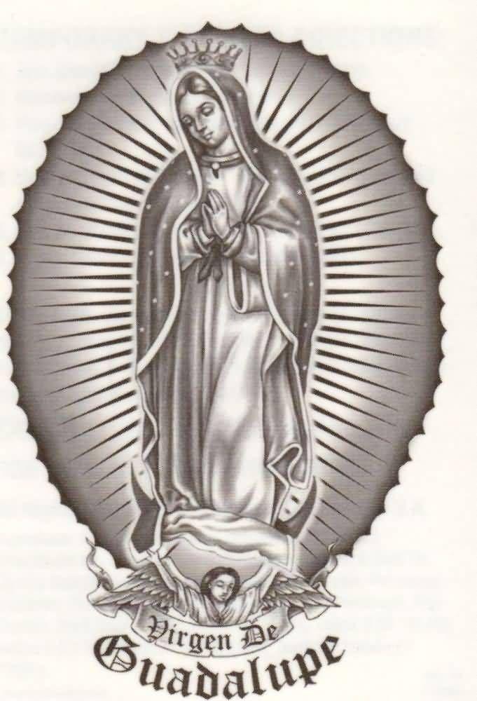 Black And Grey Tattoo Stencil: Black And Grey Virgin Mary Tattoo Design