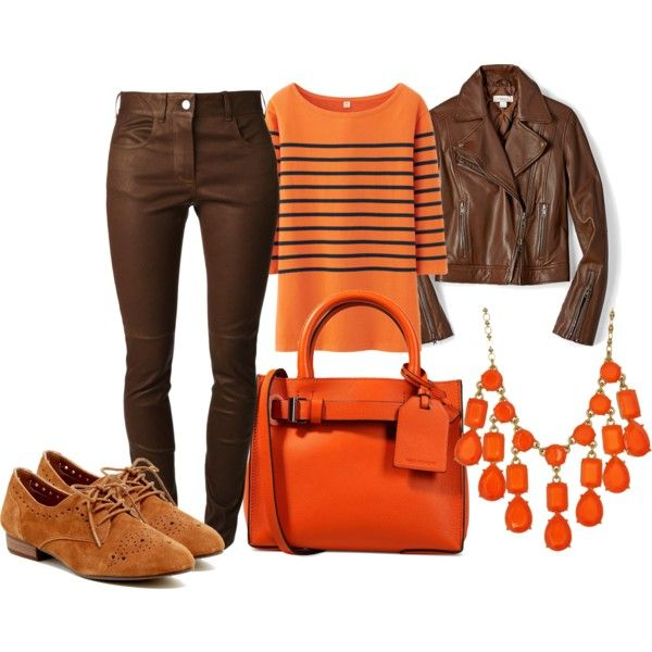 Brown and orange by andreabarria on Polyvore featuring Uniqlo, FOSSIL, Givenchy, Restricted, Reed Krakoff and Kate Spade