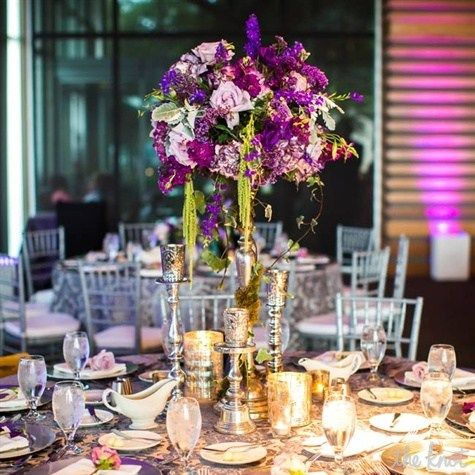 Tall Purple Centerpiece - love the hanging amanthus - could use a little white