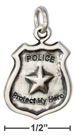"""Sterling Silver Police Shield Charm with """"Police"""" """"Protect my Hero"""" Message"""