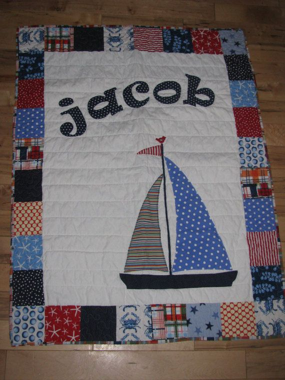 Nautical Theme Quilt with Sailboat and Michael Millers Going Coastal fabric via Etsy