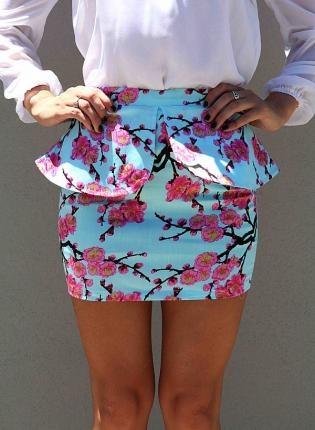 Blue Peplum Mini Skirt with Pink Cherry Blossom Print,  Skirt, mini skirt  peplum skirt, Chic