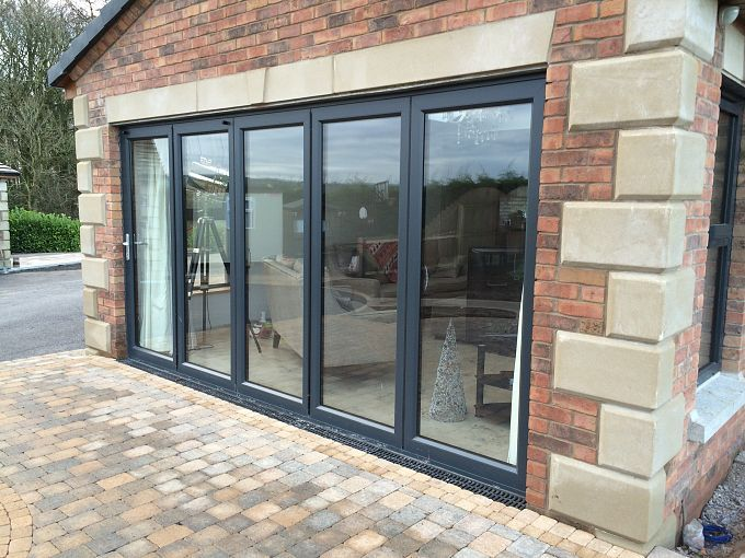 Aluminium Framed Doors The Framing Is Dark Grey Ral 7016