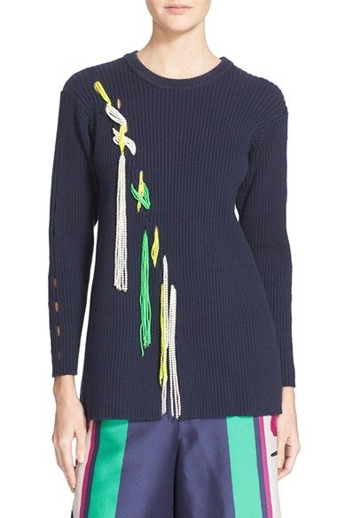 Tanya Taylor 'Jane' Beaded Rib Knit Cotton Blend Sweater