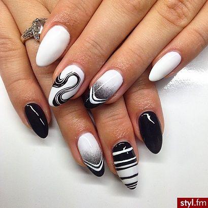 paznokcie wzory czarno białe - Szukaj w Google