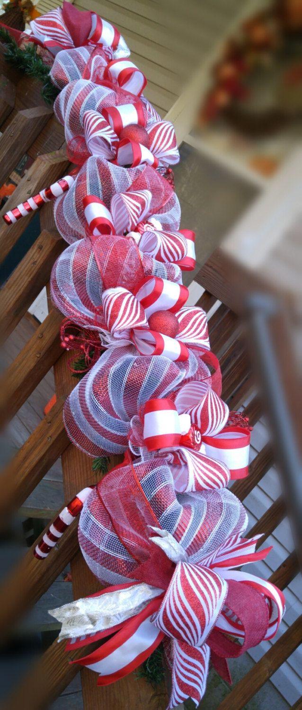 Candy Cane Christmas garland.Mantle decor.Christmas ...