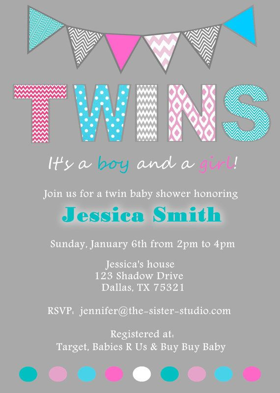 Baby Shower - TWINS - Party, Invitation, Digital File - Pink and Blue on Etsy, $15.00