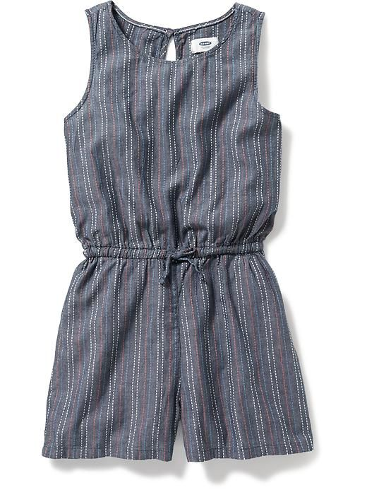 Printed Chambray Romper for Girls