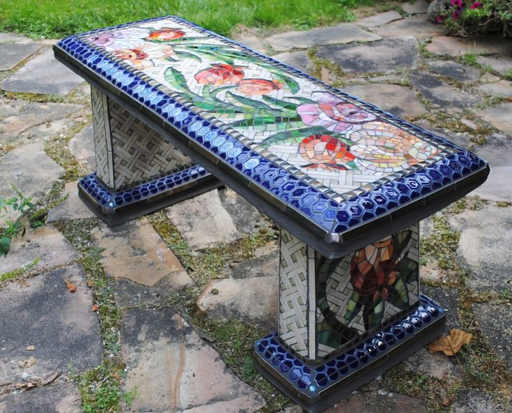 Mosaic Garden Benches - Beads & Pieces