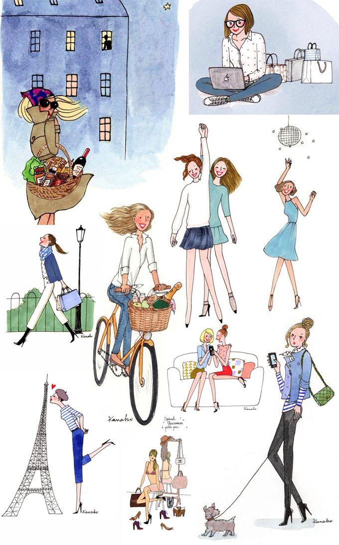 Ilustraciones sobre París que hace tres año fue todo un descubrimiento. Kanako Kuno, ilustradora de My Little Paris, bonitismo en estado puro.