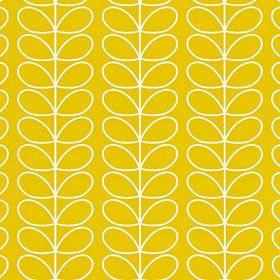 Orla Kiely - Linear Stem Wallpaper Mimosa Study desk wall with white walls/desk/shelving