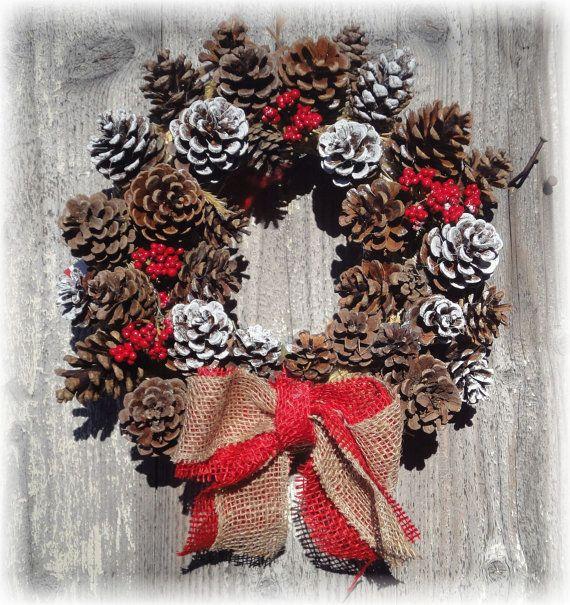 Ghirlanda di Natale/ benvenuto d.25 cm con pigne di RomantikPony