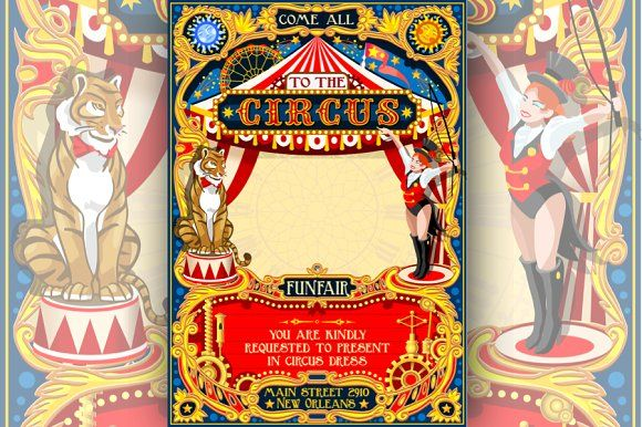 Circus Funfair Carnival Poster Theme by a Little Vintage Shop on @creativemarket