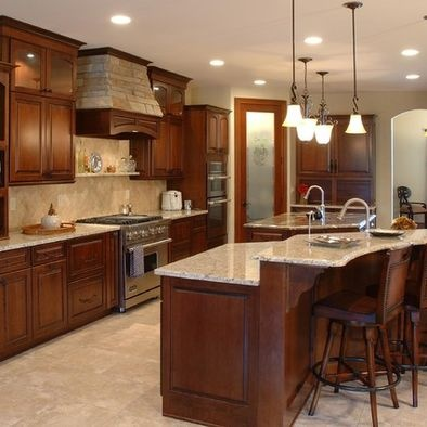 Travertine Countertop Cherry Cabinet Design, Pictures, Remodel, Decor and Ideas