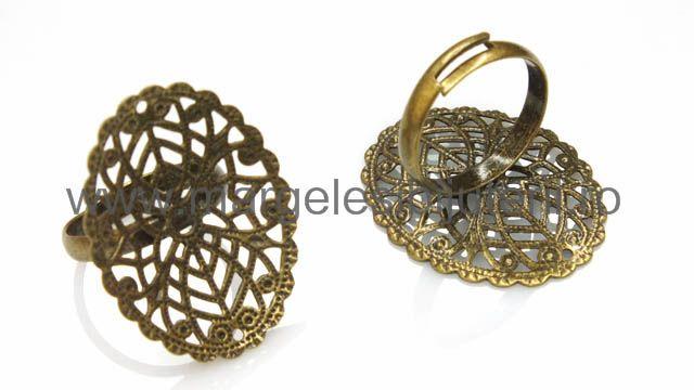 Baza inel cu platou filigranat oval bronz patiant 23 x 30 mm