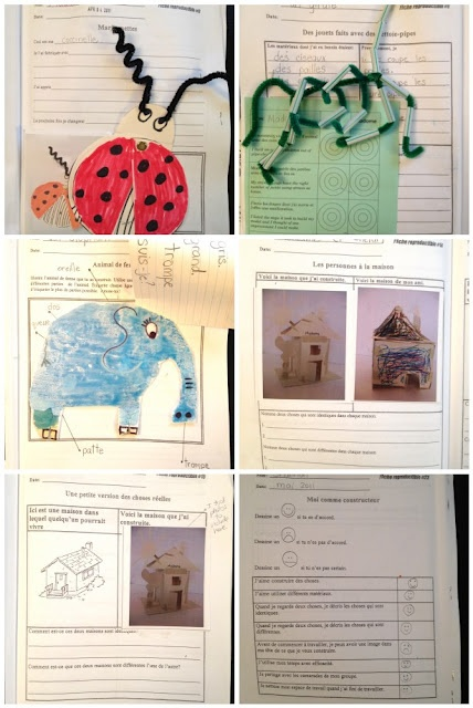 Edmonton Public science units in French.  Printables for hands on performance tasks for student response, journaling and assessment.  See how I use them at http://madamebellefeuille.blogspot.ca/2012/05/fabriquer-des-objets.html