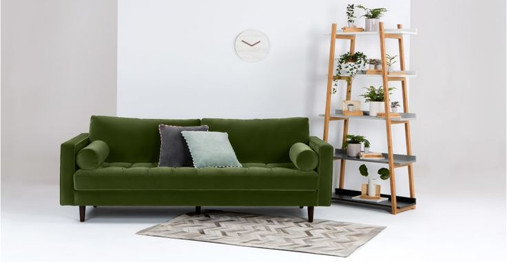 Scott 3 Seater Sofa, Grass Cotton Velvet | made.com