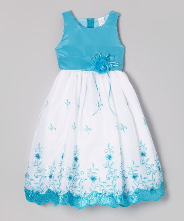 Look what I found on #zulily! Turquoise & White Floral Embroidered Dress - Toddler & Girls by ClassyKidzShop #zulilyfinds